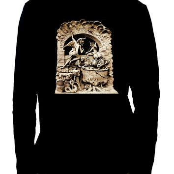 Diableries Devil Hell Scene Long Sleeve Shirt Skeletons in Cauldron