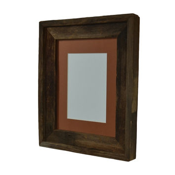 8x10 dark brown wood frame with rust mat for 5x7 or 8x6 photo or print