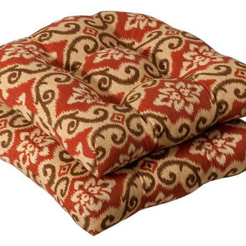 2 Chair Cushions - Tan, Brown, And Brick Red Tuscan