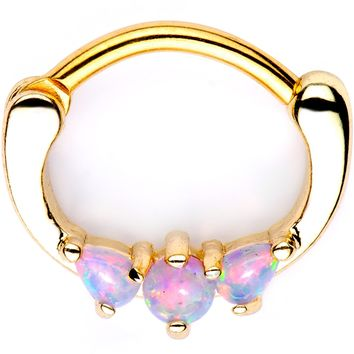Pink Synthetic Opal Gold Tone Anodized Mini Triplet Septum Clicker