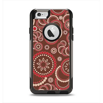 The Red & Brown Creative Flower Pattern Apple iPhone 6 Otterbox Commuter Case Skin Set