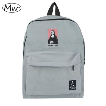 2016 New embroidery printing backpack junior high school students shoulder bag women daily backpack casual travel bag mochila