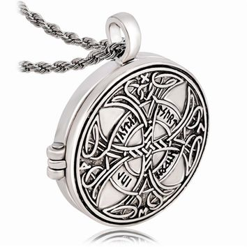 Knot Love Cross Pendant Viking Norse Rune Photo Box Locket Necklace Wiccan Pagan Asatru Jewelry