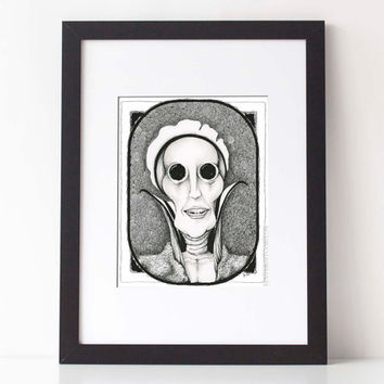 GREAT AUNT AGATHA : Doodle art, black and white, pen and ink illustration,  8x10 Limited Edition Fine Art Print