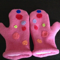 Pure Guernsey Wool Embroidered Mittens a with Fleece Lining