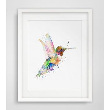Hummingbird Art Print Watercolor Wall Hanging Hummingbird  Watercolor Handmade  Bird Art Paper  Poster Watercolor Wall Decor Wit