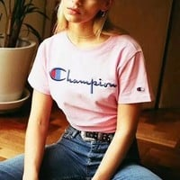 Champion Casual Classic Embroidery Logo Short Sleeve Tunic Shirt Top Blouse