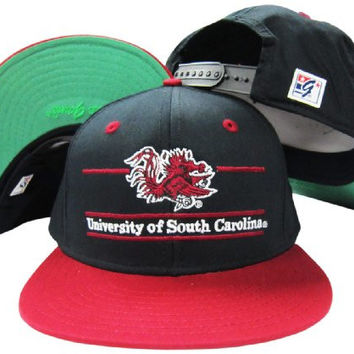 South Carolina Gamecocks Classic Split Bar Snapback Adjustable Plastic Snap Back Hat / Cap