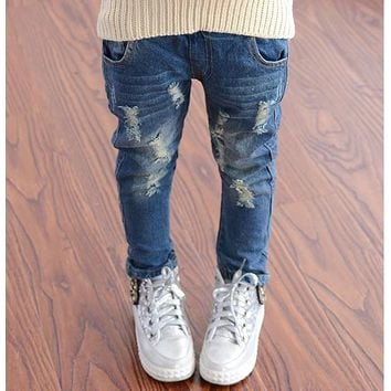 2016 Spring Autumn Baby Boys Girls Jeans Kids Broken Cool Washing Denim Pants Toddler Girls All Match Pants Children Clothes