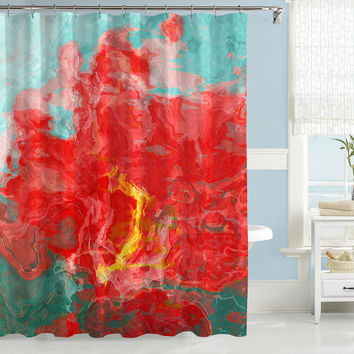 Abstract shower curtain, red and aqua shower curtain, Red Hot and Cool