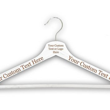 Customized CUSTOM 3D Laser Engraved Personalized Wooden Clothes Hanger Organization Closet Tools (White)