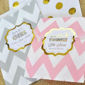 Personalized Metallic Foil Chevron & Dots Goodie Bags (set of 12) - Baby
