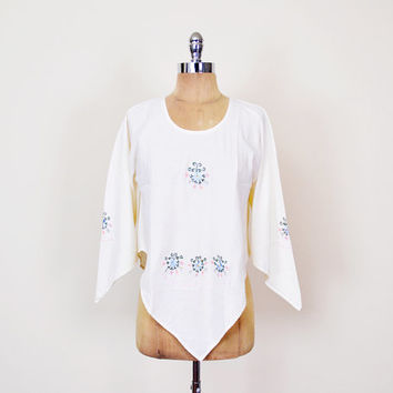 Ivory Mexican Shirt Mexican Blouse Mexican Top Mexican Tunic Mexican Embroider Blouse Angel Sleeve Blouse 70s Hippie Top Boho Top S Small