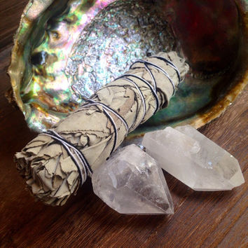 Cleansing Kit Crystal Cleansing Raw Crystal Healing Crystals and Stones Alter Kit Meditation Stones Sage Set Sage and Crystals Bohemian Boho
