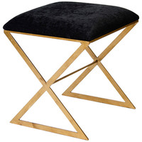Worlds Away Black Velvet With Gold Leaf X Base Stool - Contemporary - Ottomans And Cubes - by Matthew Izzo