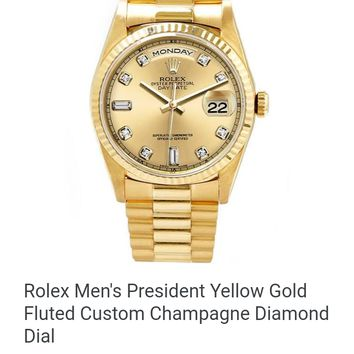 Rolex Men's President Yellow Gold Fluted Custom Champagne Diamond Dial  VISIT SITE  $11,995.00used·Luxury Of Watches  Free shipping. No tax