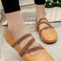 Yellow Round Toe Cross Strap Casual Flat Shoes