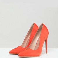 Lost Ink Wide Fit Orange Cut Out Pumps at asos.com