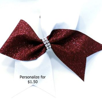 Burgundy cheer bow, Cheer bows, White glitter Cheer bow, personalized cheer bow, cheerleader bow, cheerleading bow, softball bow, cheer bow