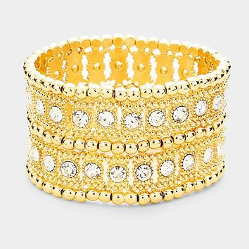 "1.50""  wide crystal bangle cuff stretch bracelet bridal prom"