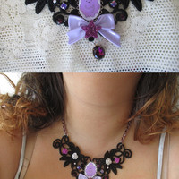 Adventure Time Lace Necklace - LUMPY SPACE PRINCESS - Pastel Goth, Fairy Kei