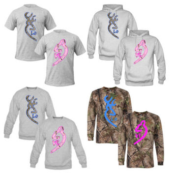 couples matching hoodies BROWNING DEER REALTREE TSHIRT AND LONG SLEEVE LOVE
