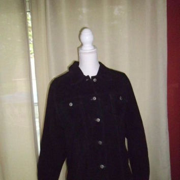 WOMAN'S CWS PLUS BLACK JACKET SIZE LARGE;FEELS LIKE SUEDE100%GENUINE LEATHER