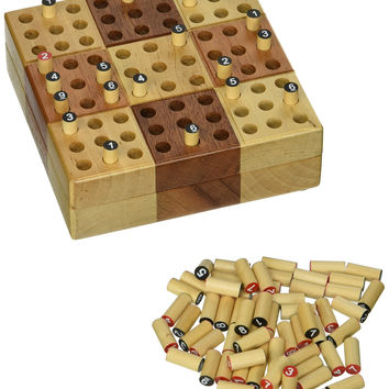 Elbert Mini Wooden Travel Sudoku Board Game Set with Wood Peg Pieces - 5 Inch '