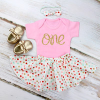 Girls 1st Birthday Outfit | Coral, Mint & Gold Confetti Twirl Skirt and Pink Onesuit w/ Knotted Headband | Gold 'One'