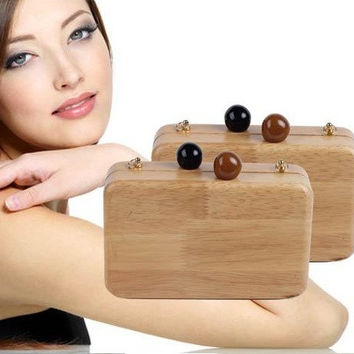 Nature Wood Women Handbag Fashion Environmentally Friendly Clutch Handmade