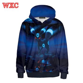 Japanese Anime Cosplay Hoodies Pocket Monster Umbreon Eevee 3D Print Hooded Sweatshirt Harajuku Pullover Sudaderas Mujer WXC