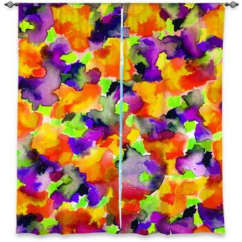 COLOR ME FLORAL 2 Orange Purple Green Art Window Curtains Multiple Size Abstract Watercolor Decor Bedroom Kitchen Lined Unlined Woven Fabric