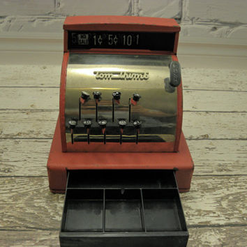 Vintage Childrens Toy 1950s Red TomThumb Cash Register Metal Working Condition