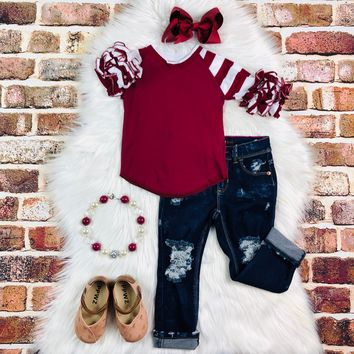 RTS White and Cranberry Ruffled Raglan D1