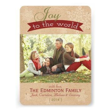 Rustic Joy To The World Christmas Flat Card