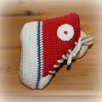 Organic baby crochet converse style boots shoes high top booties cotton ecofriendly fairtrade red white blue 0 -3m etsy shower gifts online