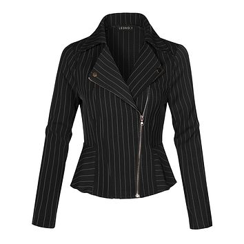LE3NO Womens Lighweight Long Sleeve Asymmetrical Striped Blazer Jacket