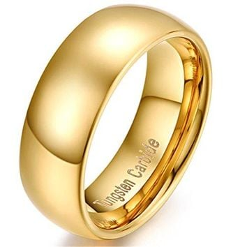 Women 8mm Tungsten Carbide Ring Simple Style 18k Gold Plated Wedding Engagement Promise Band Polished