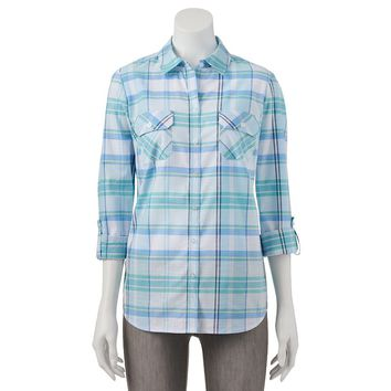 Croft & Barrow Plaid Roll-Tab Shirt