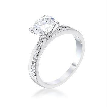 1.4Ct Contemporary Dainty Rhodium Plated Clear CZ Engagement Ring, Size 5