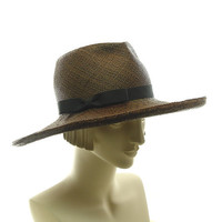 Wide Brim Hat for Women Brown Panama Straw Hat by TheMillineryShop