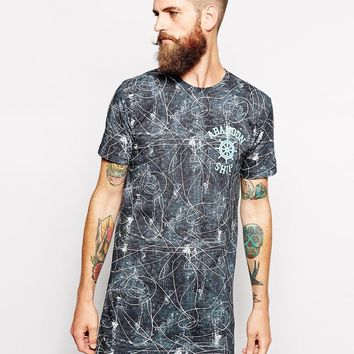 Abandon Ship Super Longline T-Shirt with Scribble Print