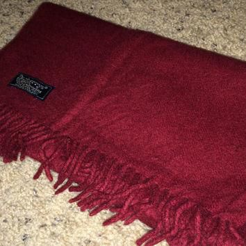 Sale!! Sale!! Vintage BURBERRYS red / maroon cashmere scarf BURBERRY wraps scarves Mad
