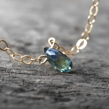 Holiday Exclusive Solitaire - Tiny Sapphire Necklace