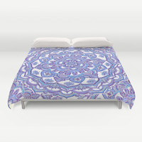 Lilac Spring Mandala - floral doodle pattern in purple & white Duvet Cover by Micklyn