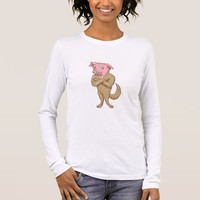 Pig Dog Standing Arms Crossed Cartoon Long Sleeve T-Shirt