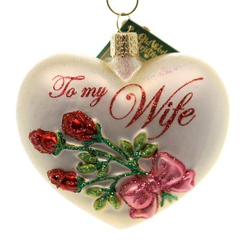 Old World Christmas SPOUSE HEART Glass Ornament Heart Love 30049 Wife