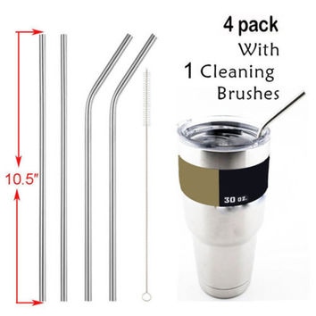 1Pcs Stainless Steel Metal Drinking Straw Reusable Straws  Cleaner Brush For Yeti Rambler Tumbler Rtic Cups VBZ84 P50