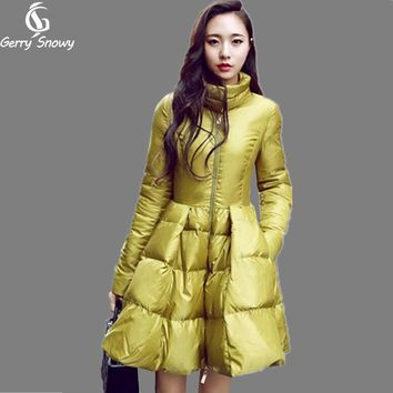 Ukraine styl Winter coat 2017 Women Down Jackets Warm Slim Coat And Jacket Female Big Swing Yellow/black Ladies Snow Outwe