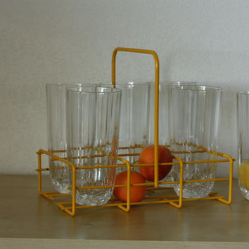 Yellow mettalic tray for glasses // Glasses display shelf // Glasses holder // French vintage // 1970